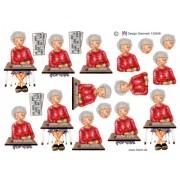 3D ark ældre dame til banko