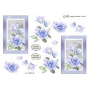 3D ark sart blå blomst i ramme
