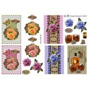 3D ark 5 små kort med blomster og drinks
