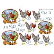 3D ark hane, høne og æg