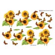 3D ark solsikker og sommerfugle