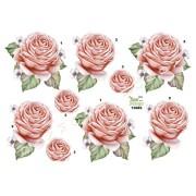 3D ark lyserød rose