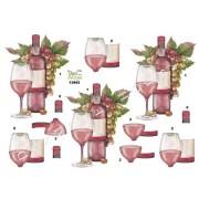 3D ark rødvin og druer