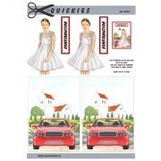 3D ark konfirmation pige ved rød bil og kirke