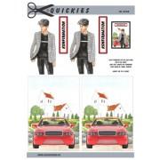 3D ark konfirmation dreng ved rød bil og kirke