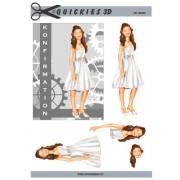 3D ark konfirmation pige med grå baggrund