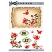 3D ark blomster og tal A5