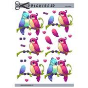 3D ark forelsket søde fugle