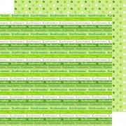 Scrapbooking papir 30.5 x 30.5 cm. konfirmation - grøn