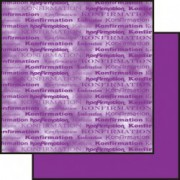 Scrapbooking papir 30,5 x 30,5 cm. mørk lilla konfirmation / marmoreret