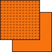 Scrapbooking papir 30 x 30 cm. orange med kirke