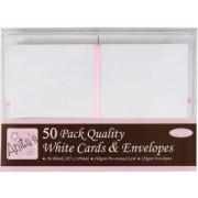Kort med kuverter hvid A6 50 stk.