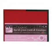 Kort med kuverter rød/grøn A6 50 stk.