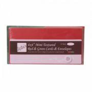 Kort med kuverter rød/grøn 10 x 10 cm. 25 stk.