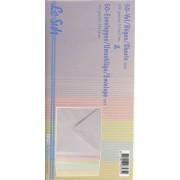 50 prægede kort med kuverter i flere farver  13,5 x 13,5 cm