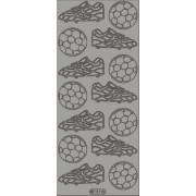 Stickers fodbolde / støvler sølv 117