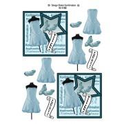 3D ark konfirmation pige lyseblå kjole på gine og stjerne