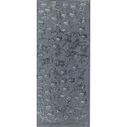 Stickers små roser sølv 0089