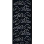 Stickers fodbolde / støvler sort 117