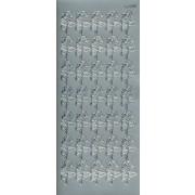 Stickers små roser sølv 200