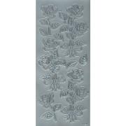 Stickers roser sølv 4124