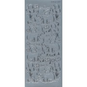 Stickers elefant med balloner sølv 4105