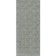 Stickers glitter blomst sølv med GULD kant 7007