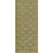 Stickers glitter blomst guld med sølv kant 7007