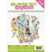A4 bog 8 udstansede og 8 design ark forår - dyr