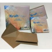 Kort med kuverter kraft 10 stk. 12 x 12 cm.
