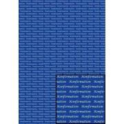 Tekstark A4 konfirmation hvid på blå