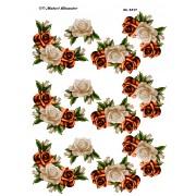 3D ark roseranker i hvid / orange farver passer til arket med tekst