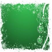 Julekort grøn med klokker 14 x 28 cm.