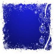 Julekort blå med klokker 14 x 28 cm.