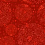 Julekort rød med snefnug 14 x 28 cm
