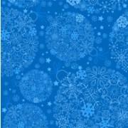 Julekort blå med snefnug 14 x 28 cm