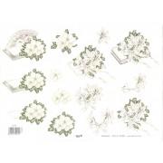 3D ark hvide roser på bog med glimmer
