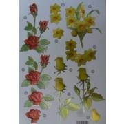 3D ark påskeliljer og roser udstanset metallic