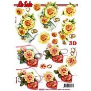 3D ark gule roser og ringe