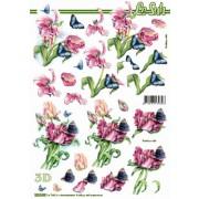 3D ark tulipaner og sommerfugle