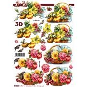 3D ark blomster i kurv