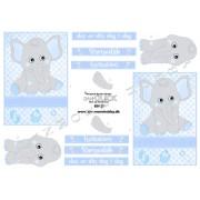 3D ark drenge elefant - barnedåb - invitation