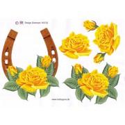 3D ark hestesko m. gul blomst