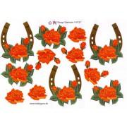 3D ark hestesko m. rød/orange blomst