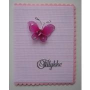Tillykkekort med lamelgardin - rød/pink
